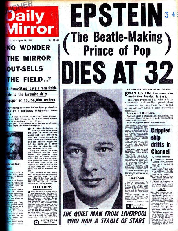 The Beatles Polska: Zmarł Brian Epstein