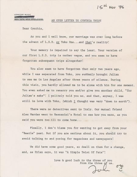 The Beatles Polska: List Lennona do Cynthii sprzedany na aukcji
