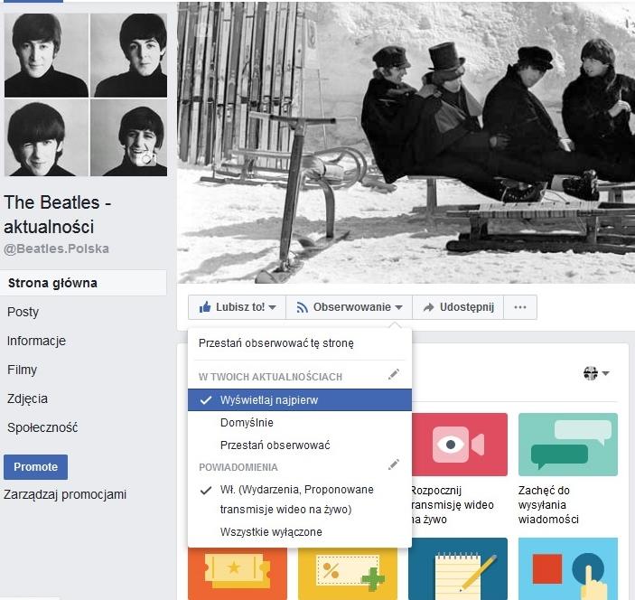The Beatles Polska: Facebook zmienia zasady wyświetlania strony - Komunikat